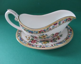 Coalport 1970's vintage floral Ming Rose cream jug and stand