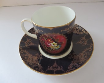 Coalport vintage 1992 Floral Cameo coffee cup and saucer