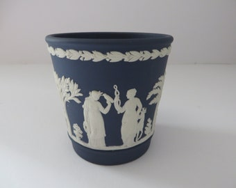 Wedgwood Jasper ware dark blue 1970's vintage pen holder
