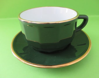 Apilco vintage 1980's green and gold tea cup and saucer