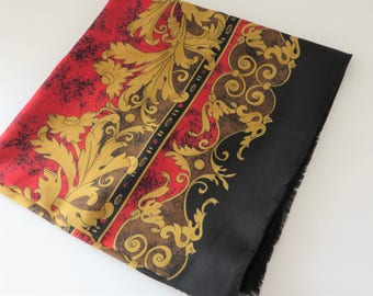 Vintage 1990's black, gold and red fringed scarf