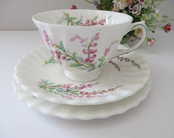 Royal Doulton vintage 1940's  Bell Heather pink and green tea trio