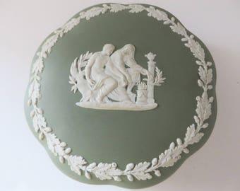Wedgwood vintage 1955 sage green Jasper ware round trinket box