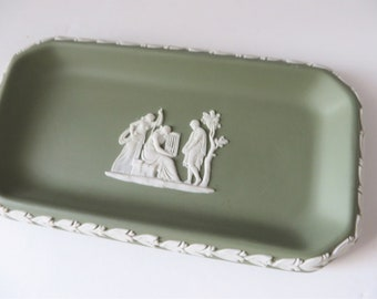Wedgwood Jasperware vintage 1980's sage green dish