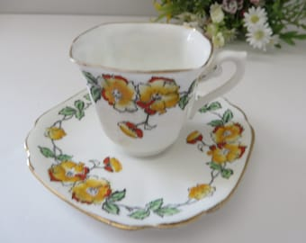 769cd34b9a Standard floral yellow vintage 1930 s coffee cup and saucer