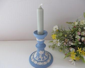 Wedgwood Jasperware vintage 1980's pale blue candlestick