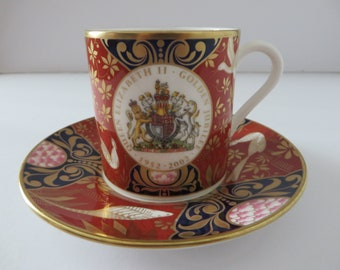 Royal Worcester Queen Elizabeth 11  Golden Jubilee coffee cup and saucer