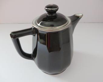 Apilco vintage 1980's black and platinum medium coffee pot