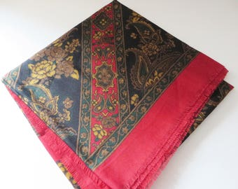 Vintage 1990's red floral and paisley winter scarf