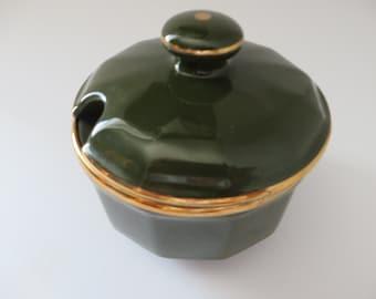 Apilco vintage 1980's green lidded jam pot