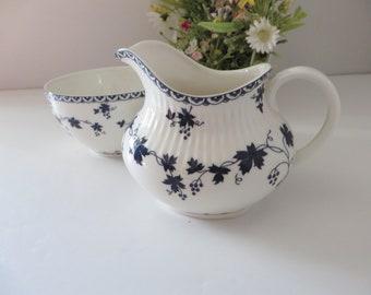 Royal Doulton 1960's vintage Yorktown blue floral creamer set