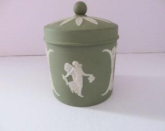 Wedgwood Jasperware vintage sage green 1960's lidded pot