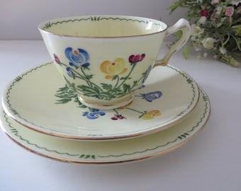 Crown Staffordshire 1930's Pan floral  tea trio