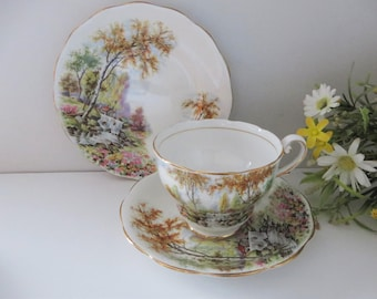 Royal Standard vintage 1950's The  Old Mill Stream tea trio
