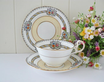 Aynsley vintage 1940's yellow floral  tea trio