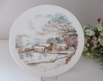 Parr Pottery vintage 1980's English winter scene plate