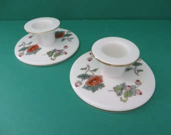 Wedgwood vintage 1980's  Kutani pair of candle holders