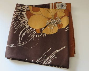 Vintage 1980's brown and gold floral silk feel square  scarf
