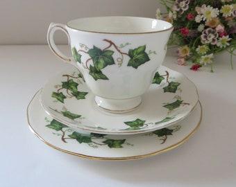Colclough vintage 1960's Ivy Leaf Bell shape tea trio