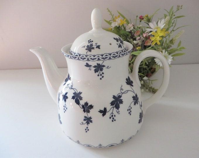 Featured listing image: Royal Doulton 1960's vintage blue floral large teapot