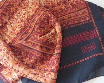 Viyella vintage 1980's long black, brown and burnt orange scarf