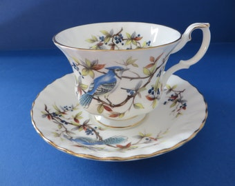 Royal Albert 1980's vintage Woodland series Blue Jay bird