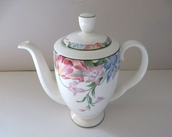 Royal Albert vintage 1980's Fonteyn blue floral coffee pot