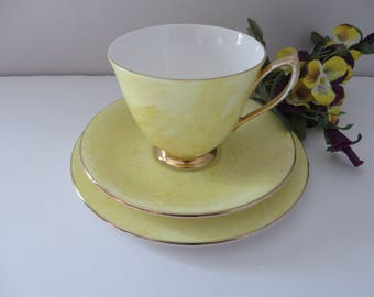 Royal Albert vintage 1970's Gossamer yellow tea trio