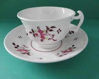 Antique Pink floral teacup and saucer