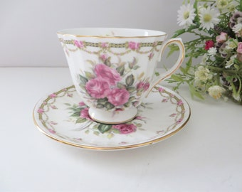 Duchess vintage 1940's pink floral teacup and saucer