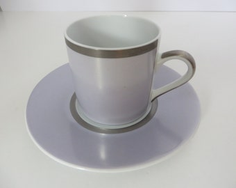 Guy Degrenne vintage lavender and silver coffee cup and saucer