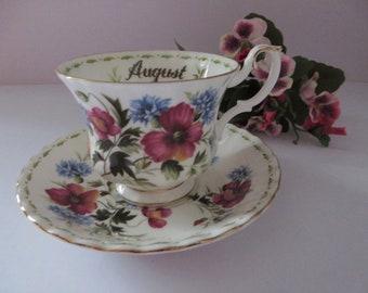 Royal Albert vintage 1970's August teacup and saucer
