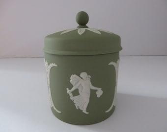 Wedgwood Jasperware vintage sage green 1970's trinket box