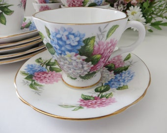 Windsor hydrangeas  vintage 1950's  coffee cup and saucer
