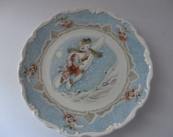 Royal Doulton vintage 1980's Walking in the Air Snowman plate