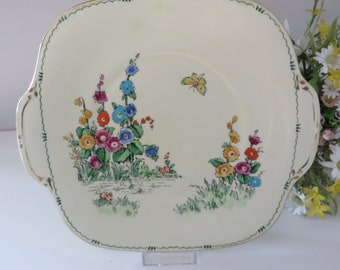 Crown Staffordshire 1930's Pan floral cake plate