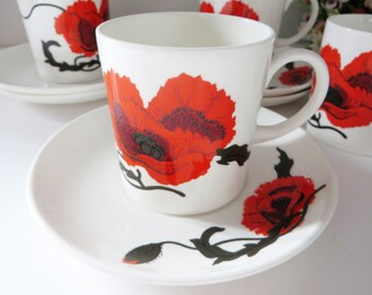 Susie Cooper vintage Red Corn Poppy 1970's coffee cup and saucer