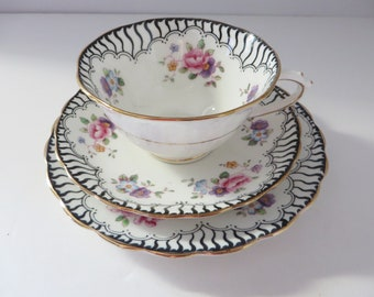 Antique Tuscan Pink and black floral 1900's tea trio