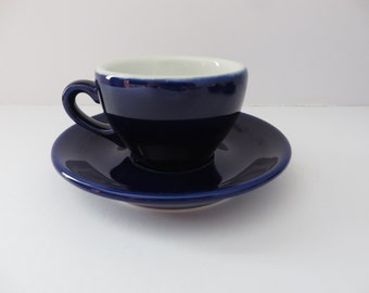 Apilco blue 1980's espresso cup and saucer
