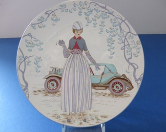 Vintage Poole pottery Lady and car decorative plate