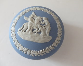 Wedgwood Jasperware 1970's  round vintage pale blue trinket box