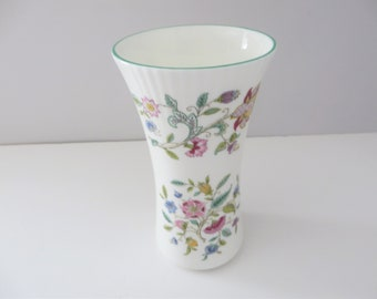 Minton Haddon Hall green floral vintage 1980's vase