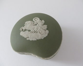 Wedgwood Jasperware vintage 1980's sage green trinket box