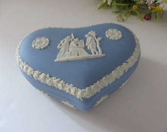 Wedgwood Jasperware vintage 1970's heart shaped pale blue trinket pot