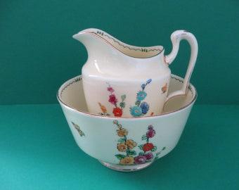 Crown Staffordshire 1930's Pan floral Creamer set