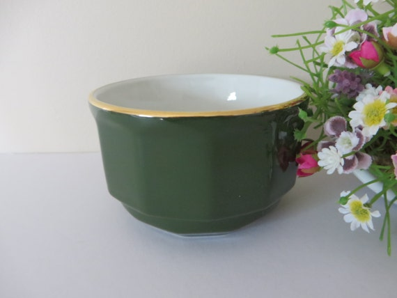 Apilco vintage 1980's green and gold large sugar bowl