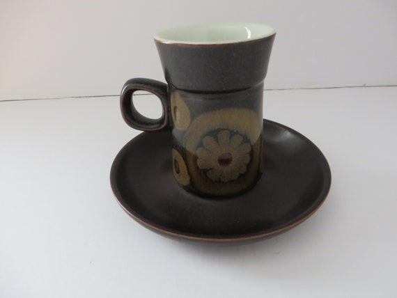 Pair of 1970's Denby Pottery ' Arabesque ' Coffee Cups and