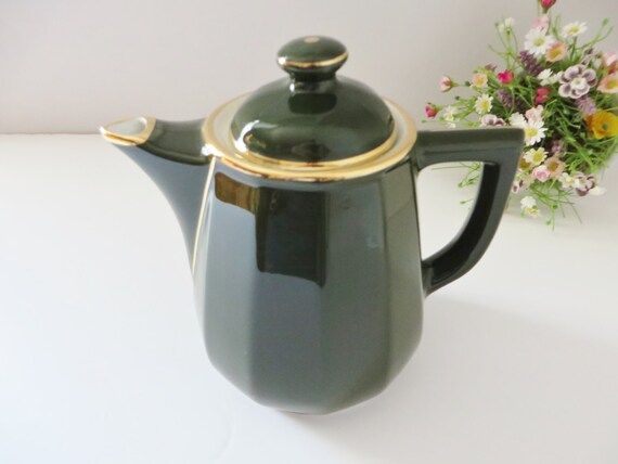 Apilco large french vintage  green and gold coffee pot