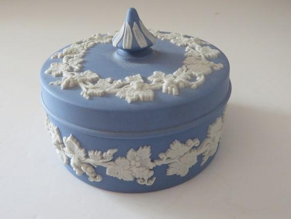 Wedgwood Jasperware small pale blue vintage 1960's trinket box