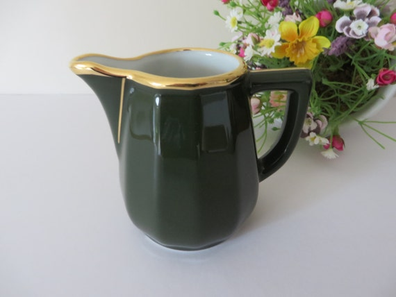 Apilco vintage 1980's 3.5 inch green and gold milk jug